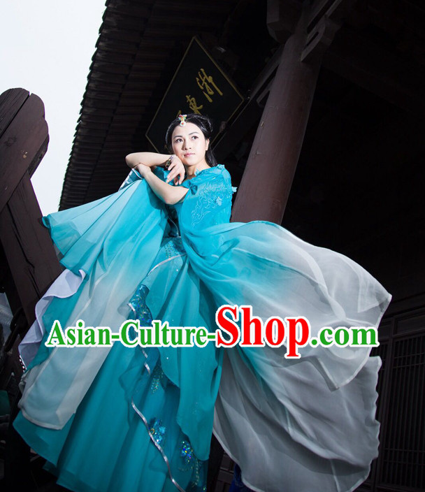 Chinese Ancient Blue Fairy Costumes