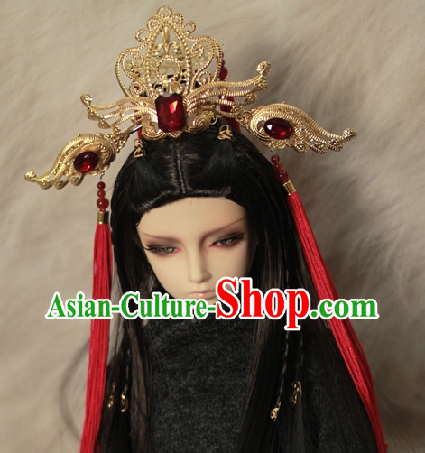 Asia Fashion Chinese Emperor Gold Hair Accessories Headbands Hair Jewelry
