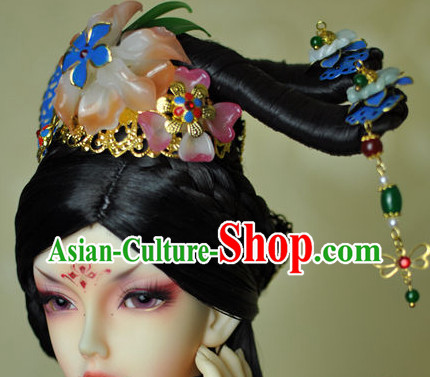 Traditional Chinese Women's Black Wig and Hair Accessories