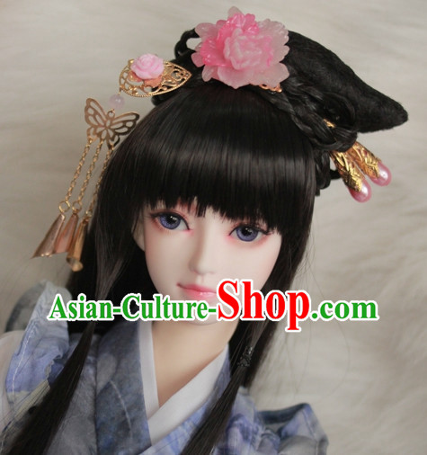 Traditional Chinese Black Wig and Hair Jewelry for Girls