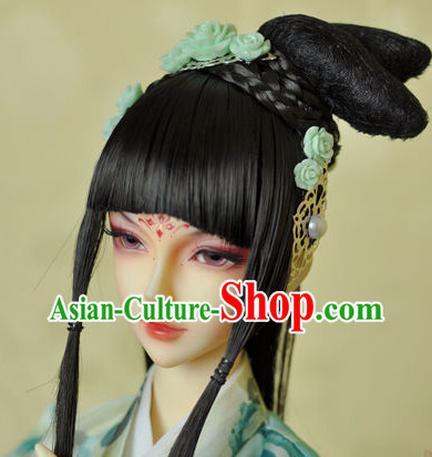 Traditional Chinese Black Wig and Hair Jewelry for Beauties