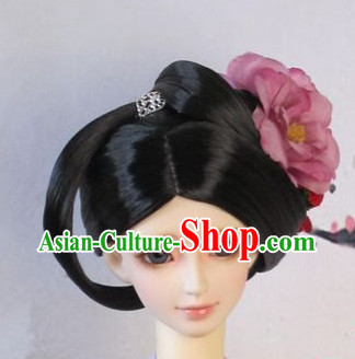 Traditional Chinese Tang Dynasty Black Wig and Hair Decorations