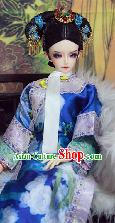 Chinese Traditional Empress Long Robe and Headwear Complete Set