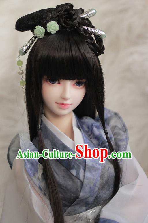 Traditional Chinese Princess Black Long Wig and Hair Jewelry