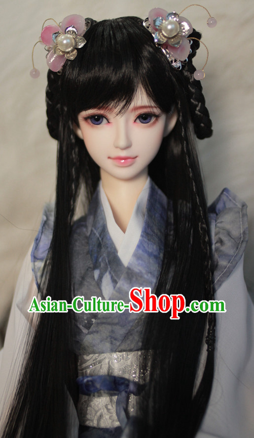 Asia Fashion Chinese Princess Black Wig and Hair Accessories Headbands Hair Jewelry