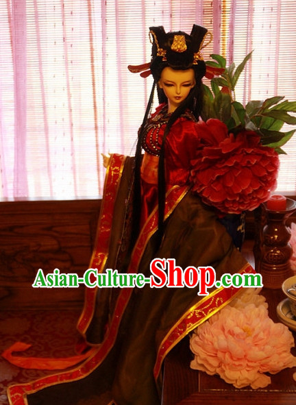 Chinese Traditional Empress Long Costumes and Hair Jewelry Complete Set