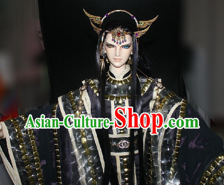 Chinese Stage Performance Emperor Cosplay Costumes and Hair Accessories Complete Set