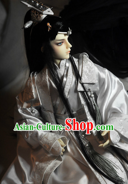 Chinese Stage Performance Prince Costumes and Hair Jewelry Complete Set