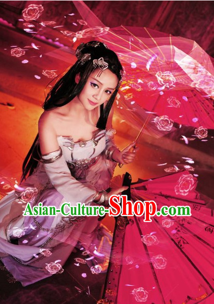 Chinese Stage Performance Sexy Halloween Costumes and Hairpins Complete Set for Women