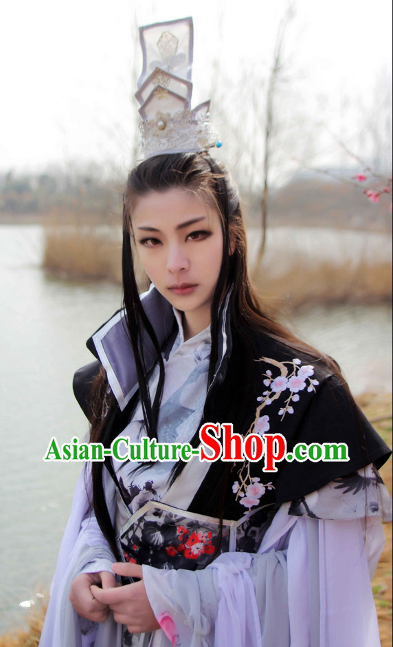 Chinese Unbeaten Master Adult Halloween Costumes and Coronet Complete Set
