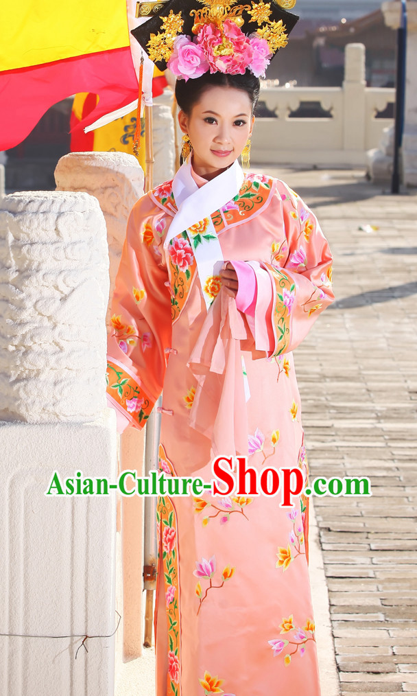 Chinese Manchu Cheongsam Qing Dynasty Princess Clothes and Hair Accessories Complete Set