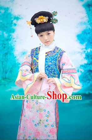 China Fashion Chinese Ancient Costume Mandarin Dress and Hair Jewelry Complete Set