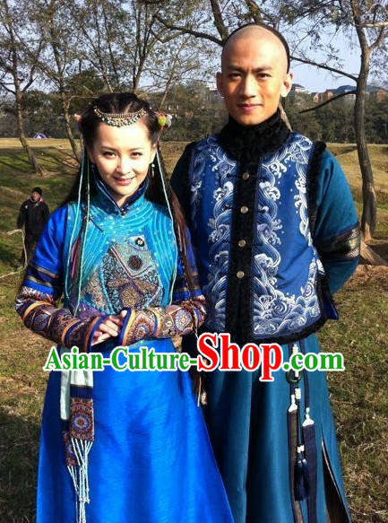 China Fashion Manchu Qing Dynasty Princess Costumes and Hair Accessories Full Set