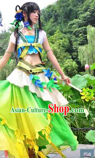 Chinese Princess Cosplay Halloween Costumes and Hair Jewelry Complete Set