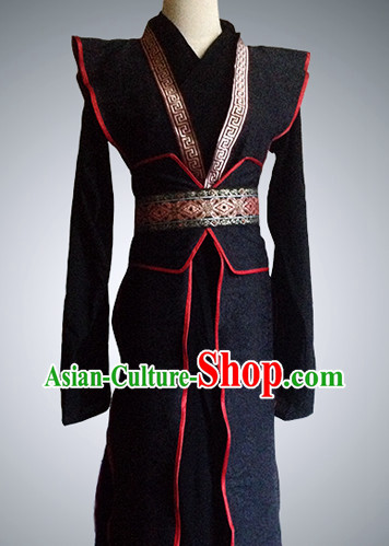 Chinese Black Swordsman Costumes Complete Set for Men
