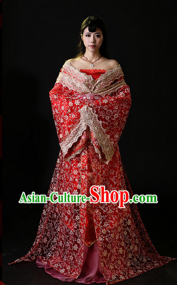 Chinese Lucky Red Wedding Bridal Gown Complete Set for Women