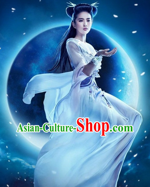 Chinese Legend Xiao Long Nv Dragon Lady Costumes and Hair Jewelry Complete Set