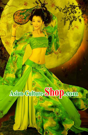 Chinese Classical Dancing Costumes and Hair Jewelry Complete Set