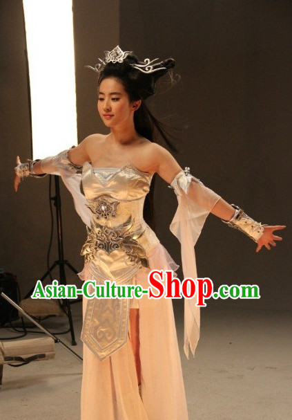 Chinese Dragon Lady Cosplay Halloween Costumes and Hair Accessories Complete Set