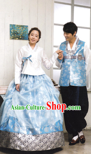 Korean Husband and Wife Traditional Dresses Hanbok Clothing Complete Set