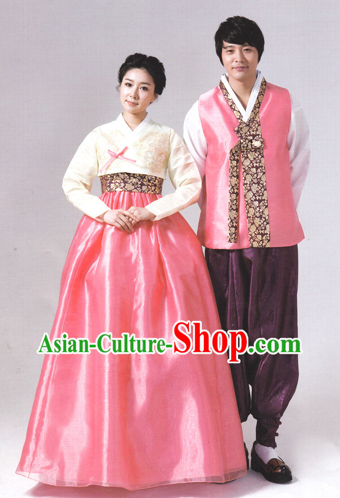 Korean Couple Traditional Dresses Hanbok Outfits Complete Set