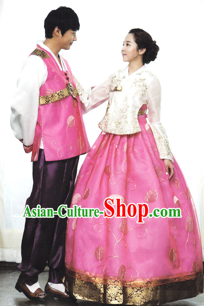 Korean Couple Traditional Dresses Hanbok Clothes Complete Set