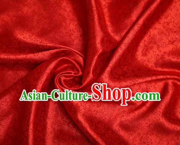 Red Chinese Traditional Dragon Brocade Fabric