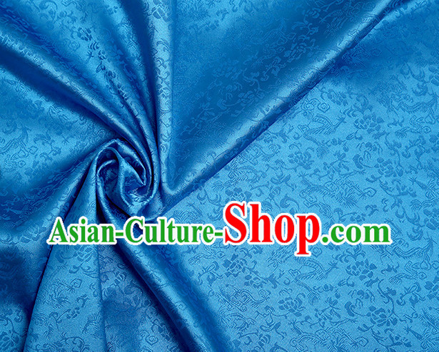 Blue Chinese Traditional Dragon Brocade Fabric
