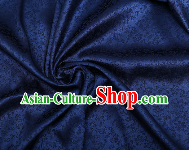 Deep Blue Chinese Traditional Dragon Brocade Fabric