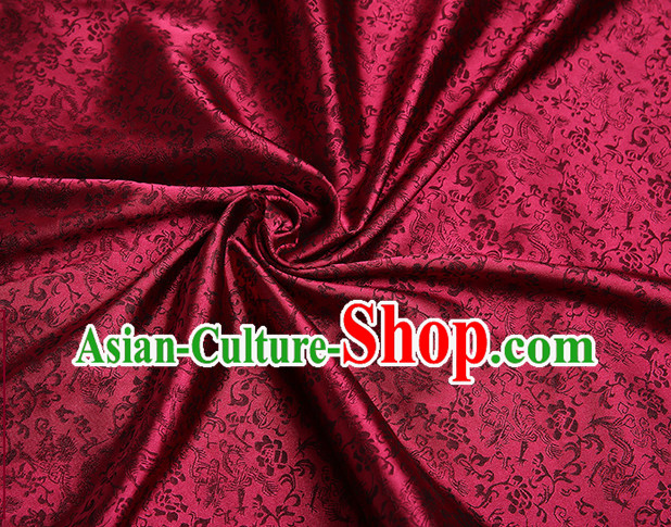 Deep Red Chinese Traditional Dragon Brocade Fabric