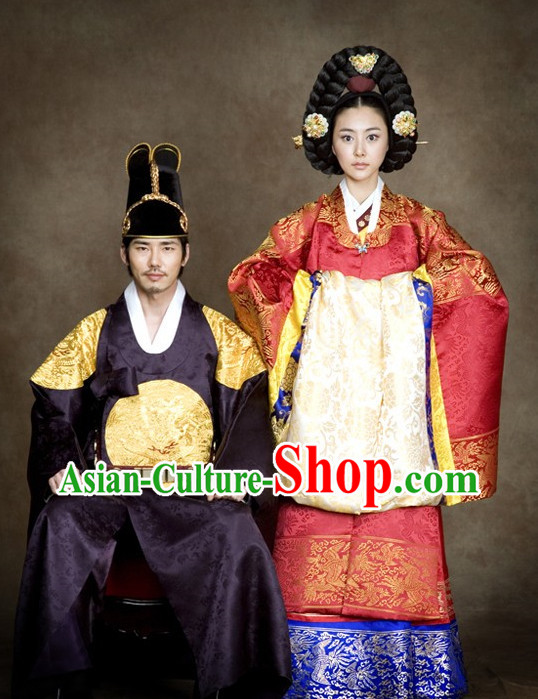 Traditional Korean Emperor and Empress Clothing 2 Complete Sets