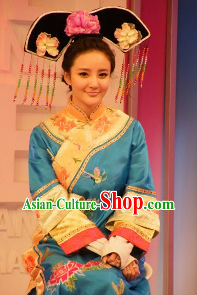 Chinese Qing Princess Manchu Costumes and Hair Accessories Complete Set for Women