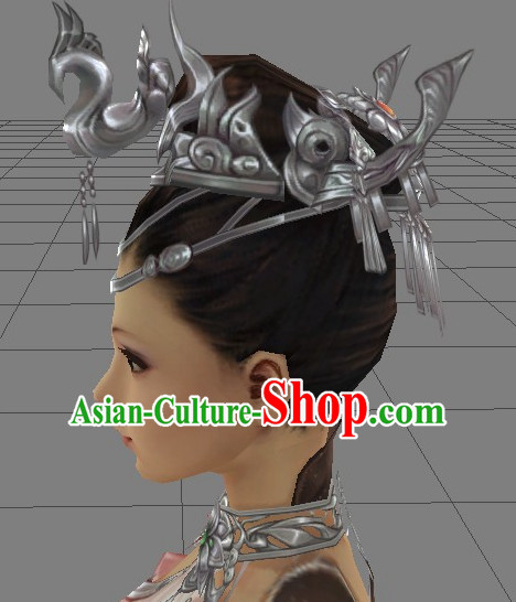 Custom Made According to Your Picture Asian Chinese Ancient Traditional Female Long Wigs and Hair Accessories