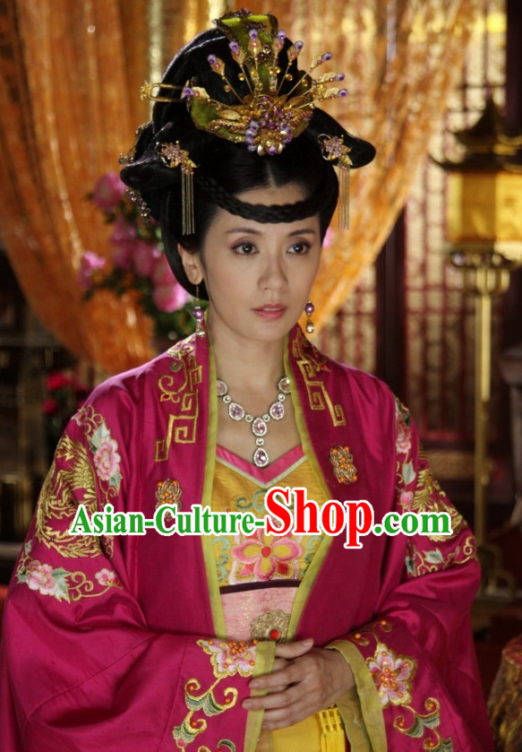 Asian Fashion Chinese Peace Princess Wedding Dress and Hair Accessories Full Set for Women