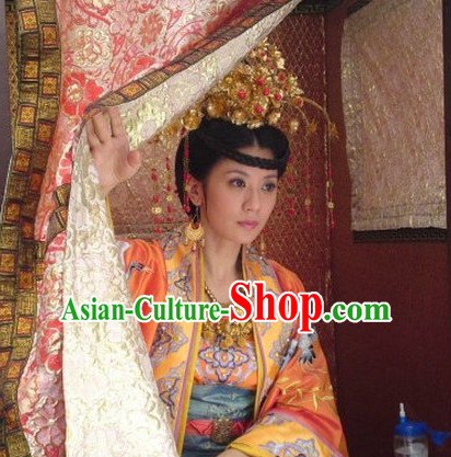 Asian Fashion Chinese Peace Princess Wedding Dresses and Hair Accessories Full Set for Women