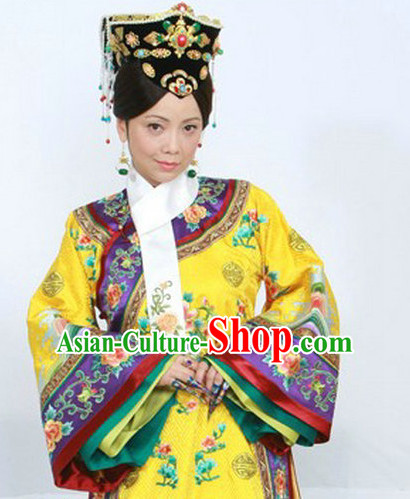 Chinese Queen Embroidery Robe and Hair Ornaments Complete Set