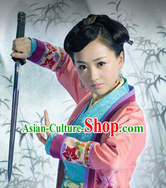 Chinese Traditional Handmade Black Swordswoman Wig