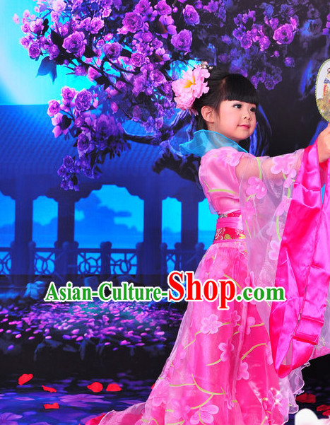 Chinese Traditional Princess Outfits and Hat Complete Set for Kids