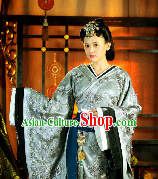Chinese Traditional National Costume Empress Outfits and Headwear