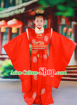 Chinese Traditional Wedding Dress and Coronet for Kids