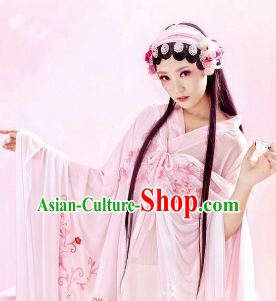 Chinese Traditional National Costume Hua Dan Dress and Headwear