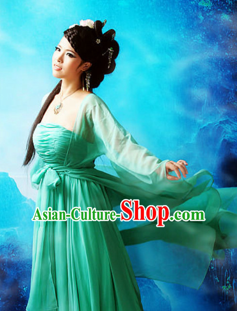Chinese Traditional National Costume Green Hanfu