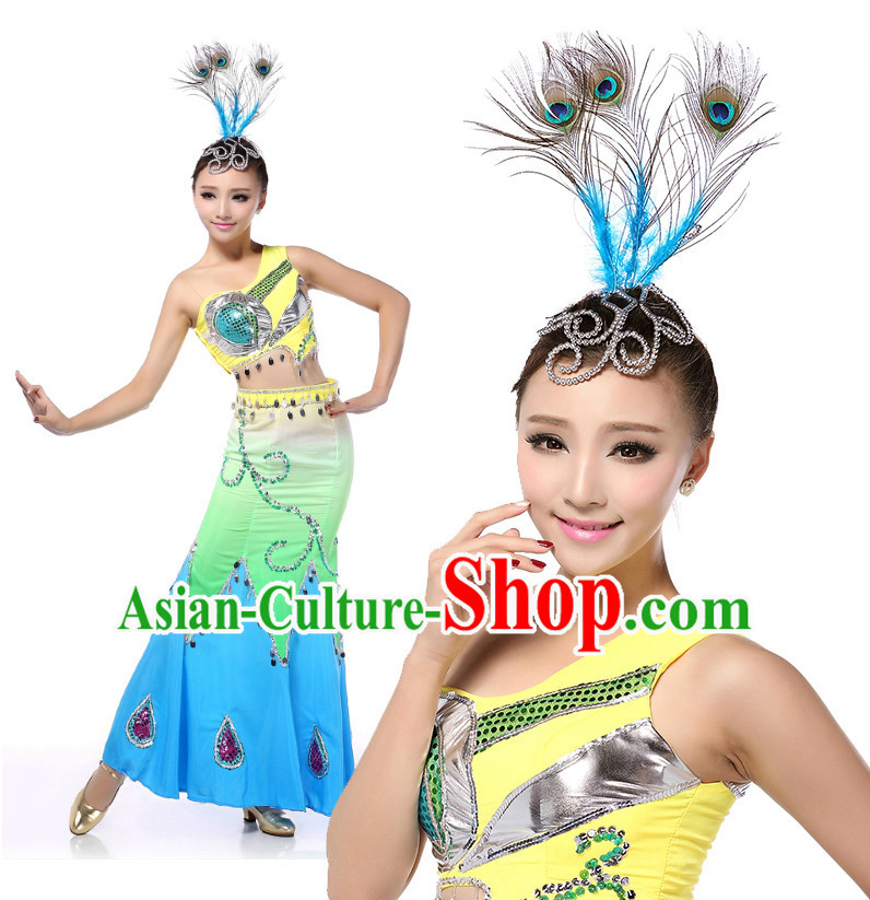 Chinese Traditional Peacock Dance Costumes Suppy and Headpieces Complete Set