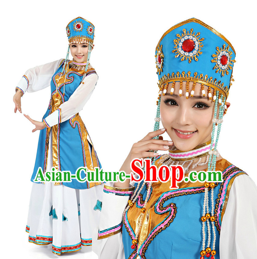 Chinese Mongolia Dance Costumes Apparel Dance Stores Dance Gear Dance Attire and Hair Accessories Complete Set for Women