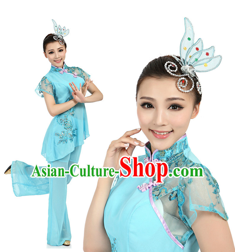 Chinese Fan Dance Costumes Apparel Dance Stores Dance Gear Dance Attire and Hair Accessories Complete Set for Women