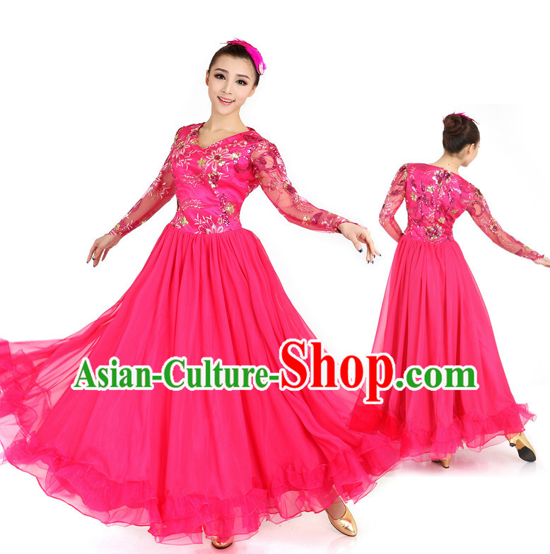 Chinese Traditional Dance Costumes Apparel Dance Stores Dance Gear Dance Attire and Hair Accessories Complete Set for Women