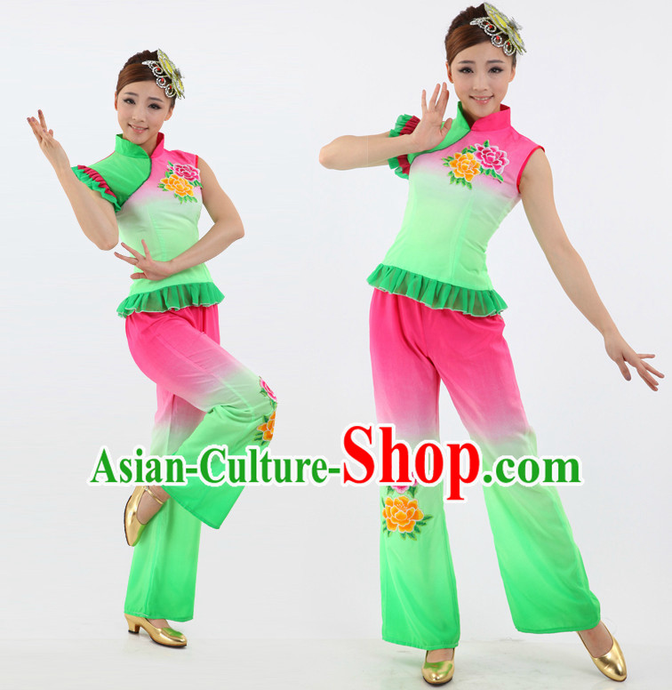 Chinese Folk Dance Costumes Apparel Dance Stores Dance Gear Dance Attire and Hair Accessories Complete Set for Women
