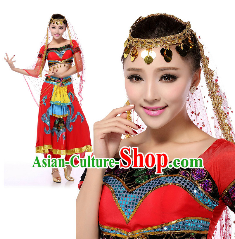 Indian Traditional Classical Peony Dancing Apparel Dance Attire and Headpiece Complete Set for Women