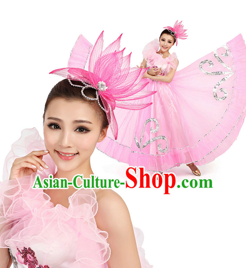 Chinese Stage Professional Dancing Costumes Apparel Dance Stores Dance Gear Dance Attire and Hair Accessories Full Set