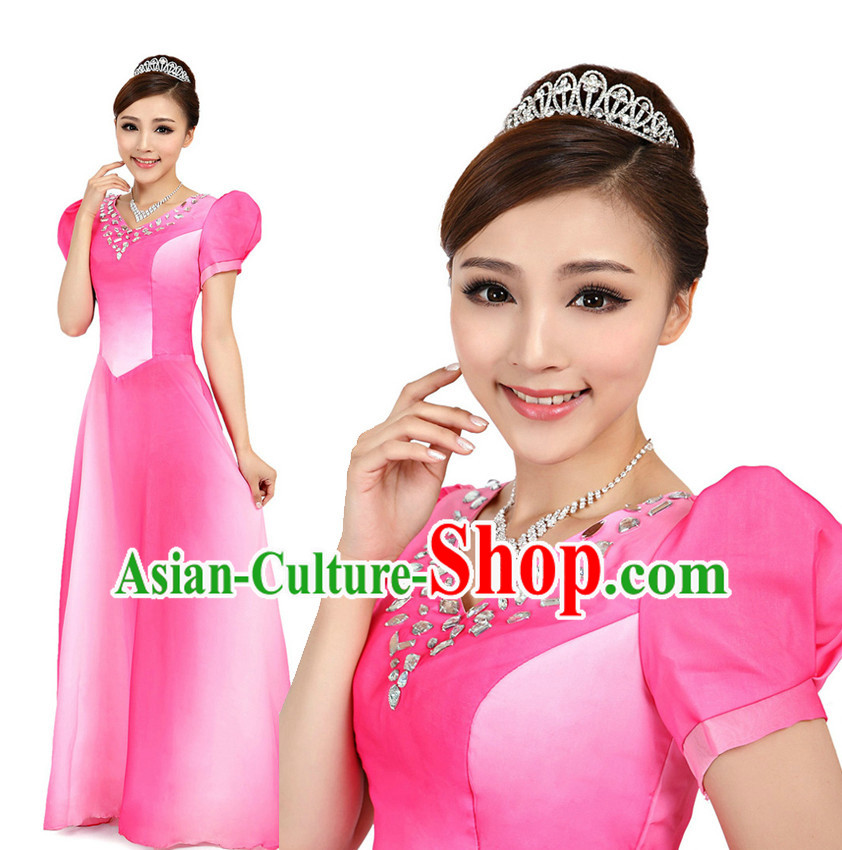 Asian Chinese Professional Stage Costumes Dance Stores Dance Gear Dance Attire and Hair Accessories Complete Set